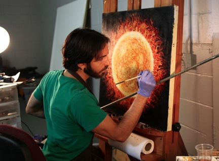 Jay Alders painting solar venus transit art work used for Echo Movement.