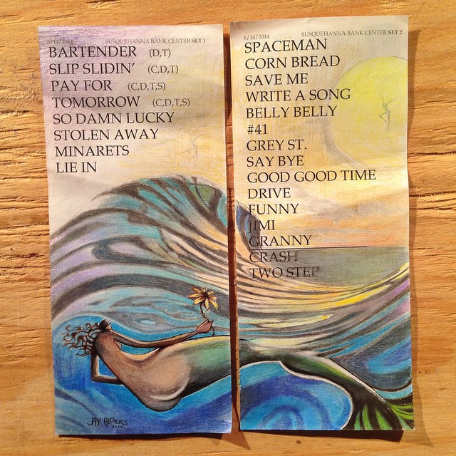 stefan lessard dmb set list art by Jay alders mermaids