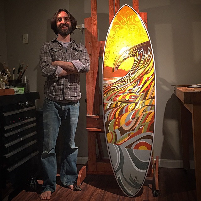 painted surfboard art by Jay Alders