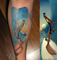 Left Behind the Wall Surf Art by Jay Alders- Surfing Tattoo