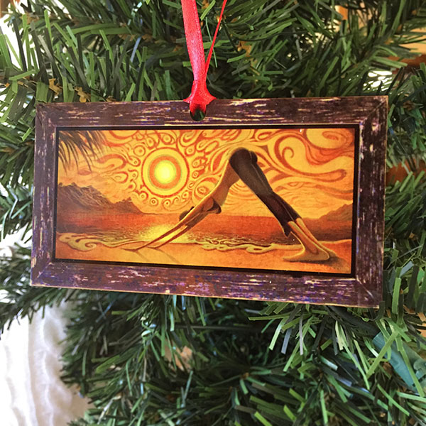 Yoga Art Christmas Ornament Down to Earth by Artist Jay Alders