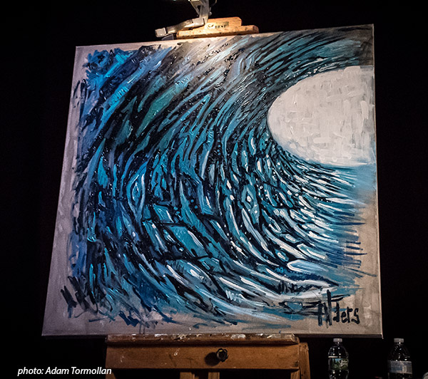 Jay Alders live surf art with G Love in Manasquan NJ Algonquin Theatre