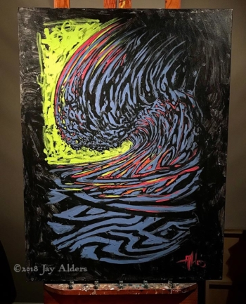 Light Wave - Trippy Surf Painting by Jay Alders