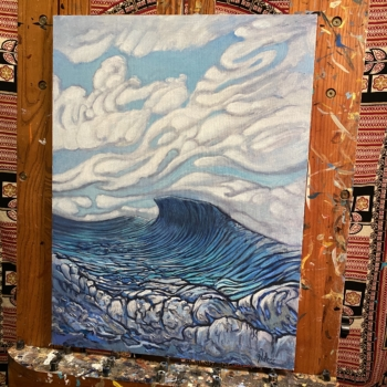 Rising Up - Surf inspired ocean painting seascape by Jay Alders
