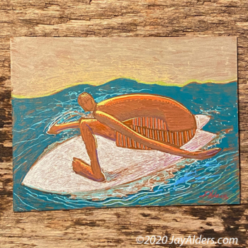 Fish 6920 - contemporary surfer painting by artist Jay Alders