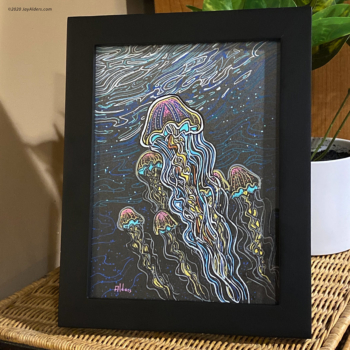 Colorful painted Jellyfish artwork